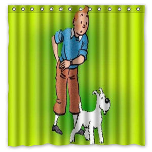 Tintin & Snowy - Waterproof Shower Curtain 100% Polyester (180cm x 180cm)