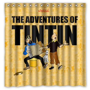 The Adventures Of Tintin - Waterproof Shower Curtain 100% Polyester (180cm x 180cm)