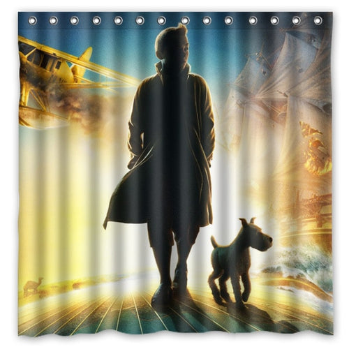 Tintin & Snowy Movie - Waterproof Shower Curtain 100% Polyester (180cm x 180cm)