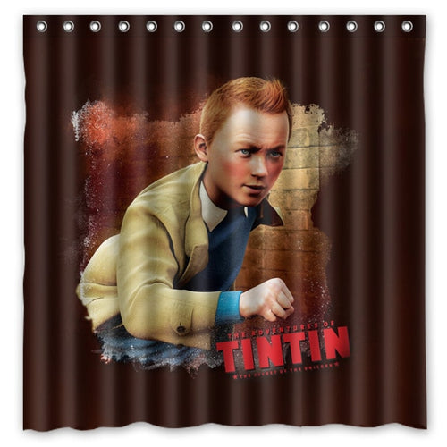Tintin Animation - Waterproof Shower Curtain 100% Polyester (180cm x 180cm)