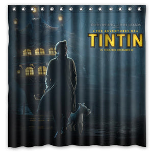 Tintin Spielberg Movie - Waterproof Shower Curtain 100% Polyester (180cm x 180cm)