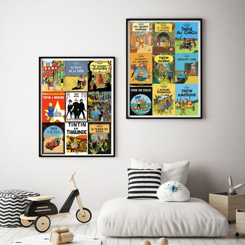 Tintin Comicbook Covers Collage - Decorative Posters