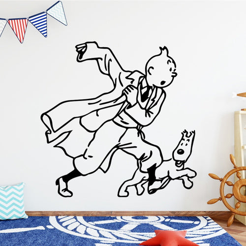 Tintin & Snowy Running - Easy Peel and Stick Wall Sticker
