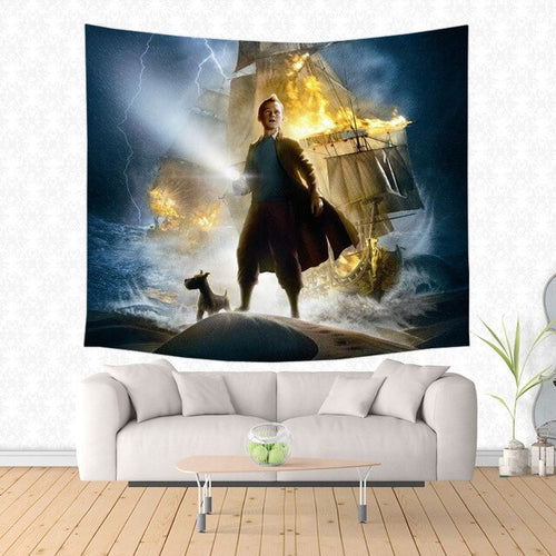 Tintin Movie Poster - Decorative Wall Hanging Tapestry