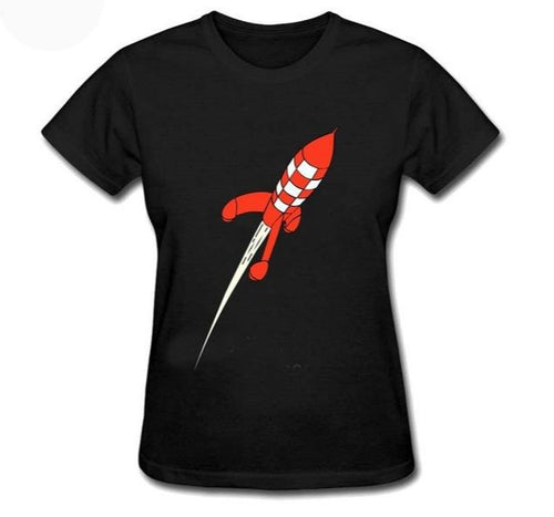 Destination Moon Rocket - Women's Soft Cotton Tee