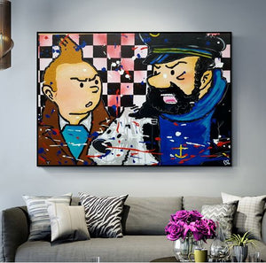 Tintin Snowy & Haddock - Hand-painted Canvas Oil Painting