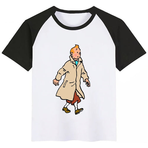 Tintin Walking - Unisex Children's Summer Cotton Tee