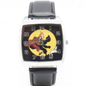 Tintin Casual Fashion Black Leather Watch
