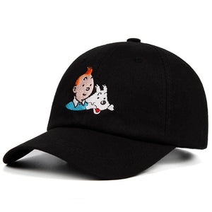 Unisex 100% Cotton Tintin Embroidered Baseball Cap