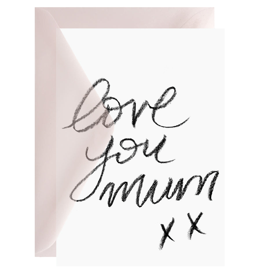 Love you mum – Greeting Card with Vellum Envelope