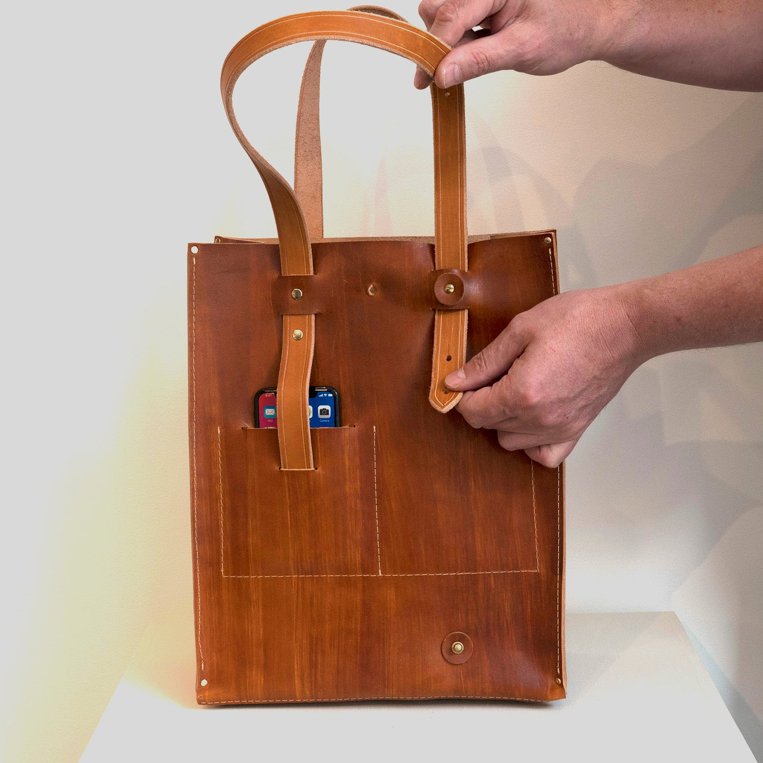 Leather Tote with iPhone Pocket