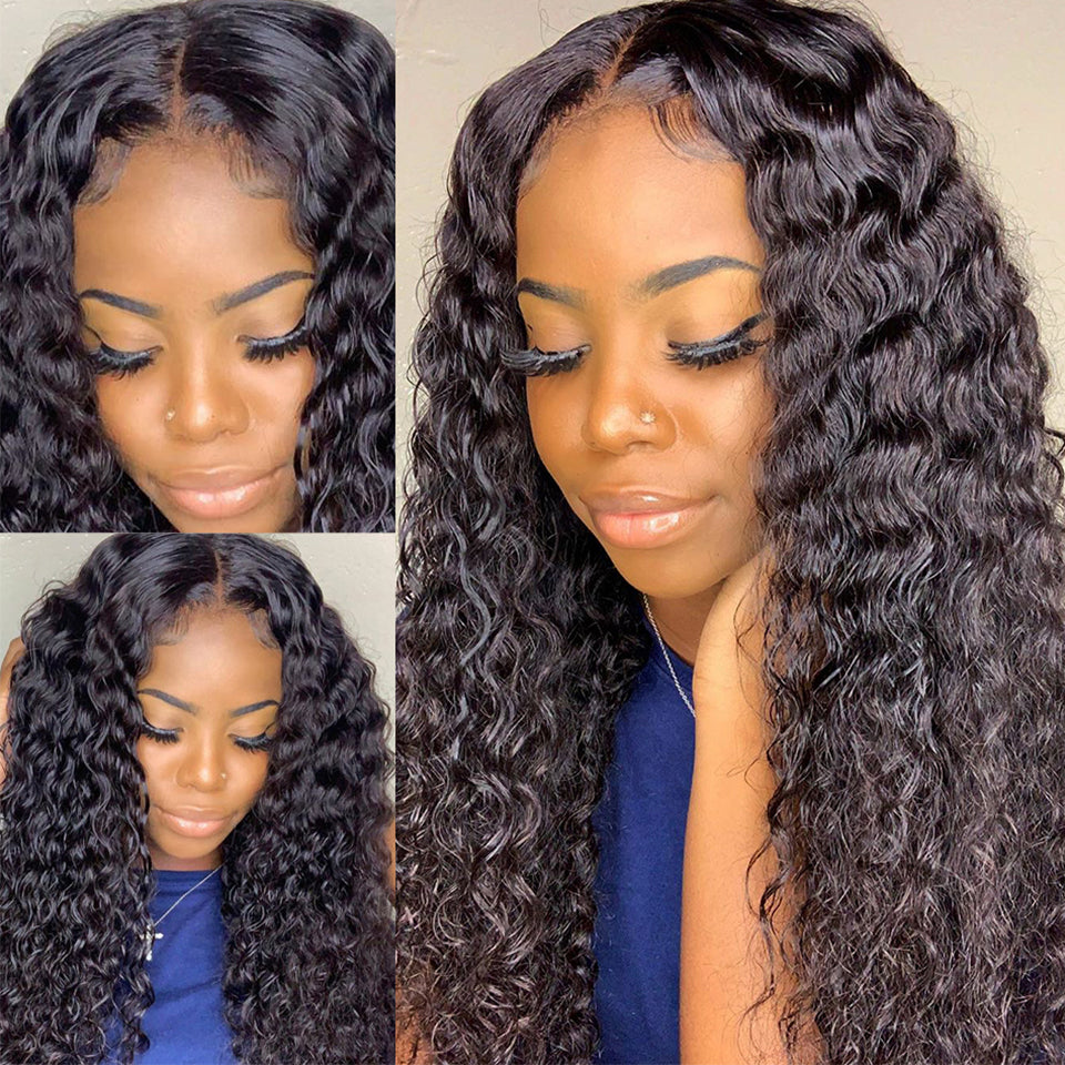 Beaufox Water Curly 13*4 Lace Front Wig 180% Density Natural Black Brazilian Human Hair Wigs