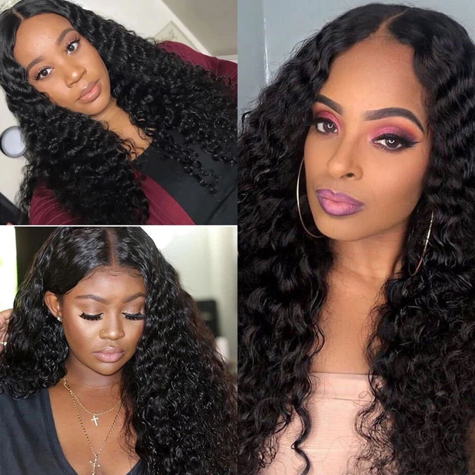 Beaufox Hair Deep Wave 13*4 Lace Front Wig 210% Density Virgin Human Hair Wigs