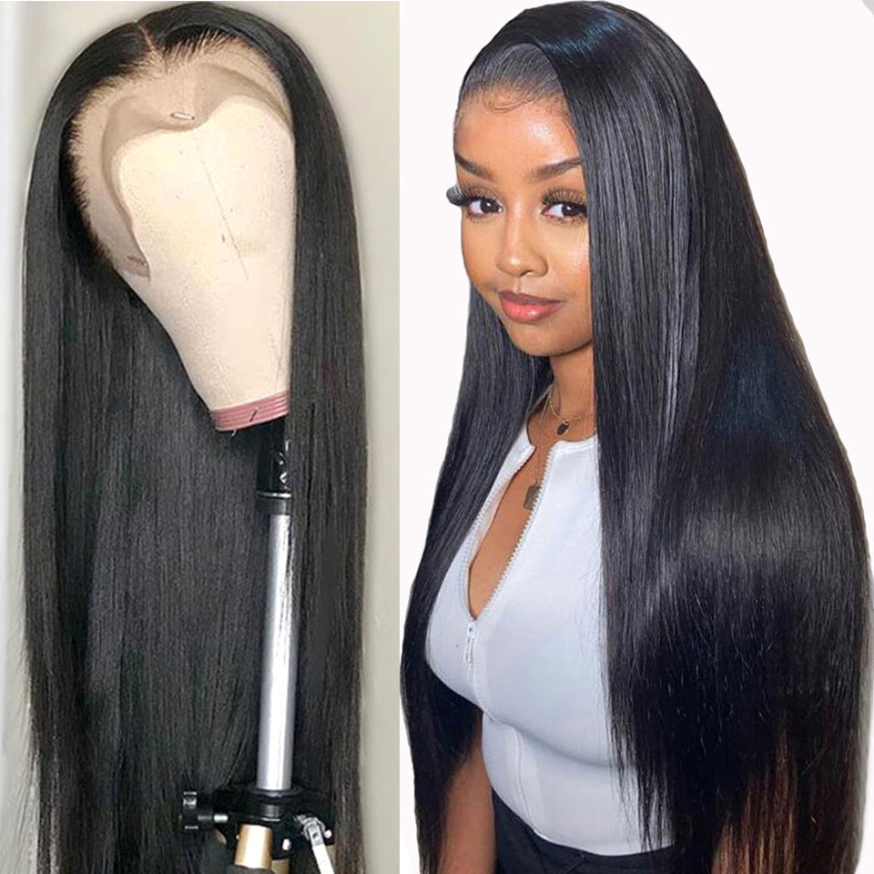 Beaufox Hair Straight Hair 13X4 Lace Front Wig Peruvian Virgin Human Hair Wigs 180% Density
