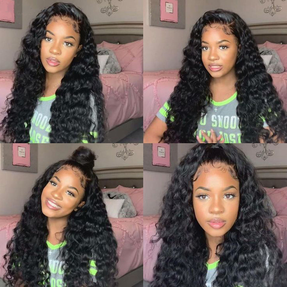 Beaufox Hair 250% Density Deep Wave 13*4 Lace Front Wig  Virgin Human Hair Wigs Natural Black