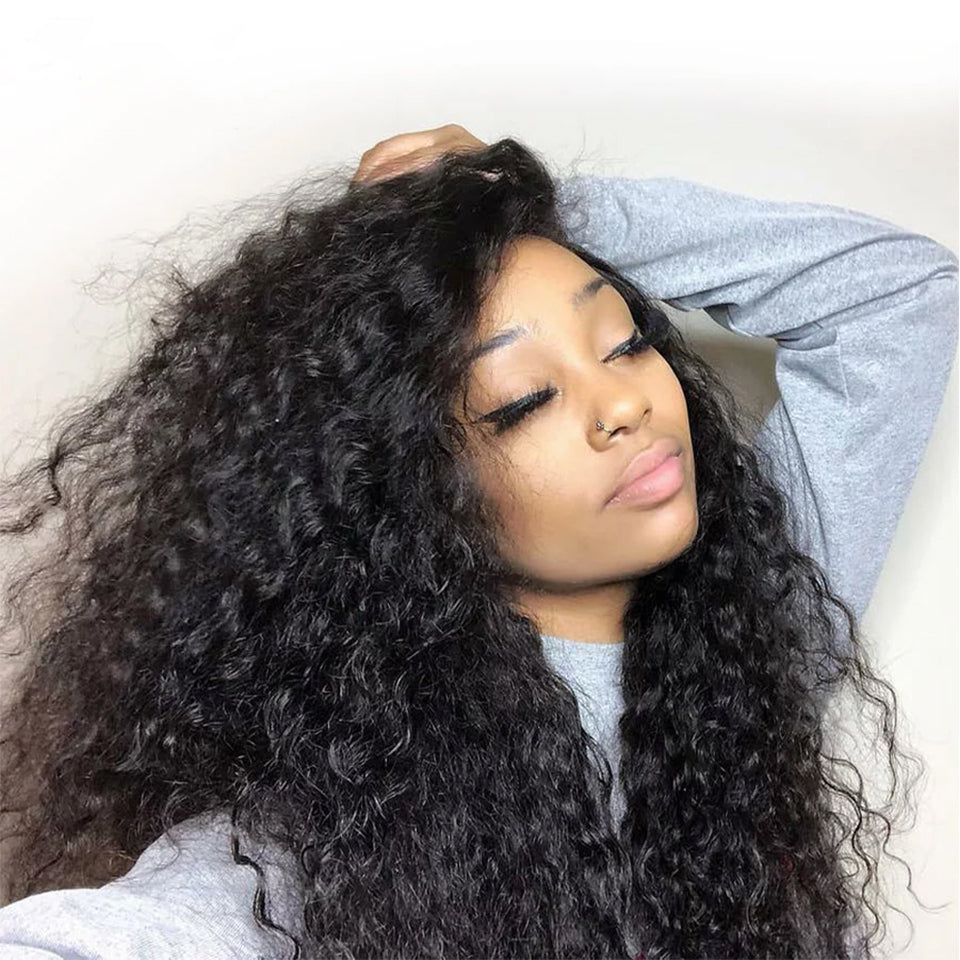 Beaufox Water Wave 13*4 Lace Front Wig 250% Density Virgin Human Hair Wigs Natural Black