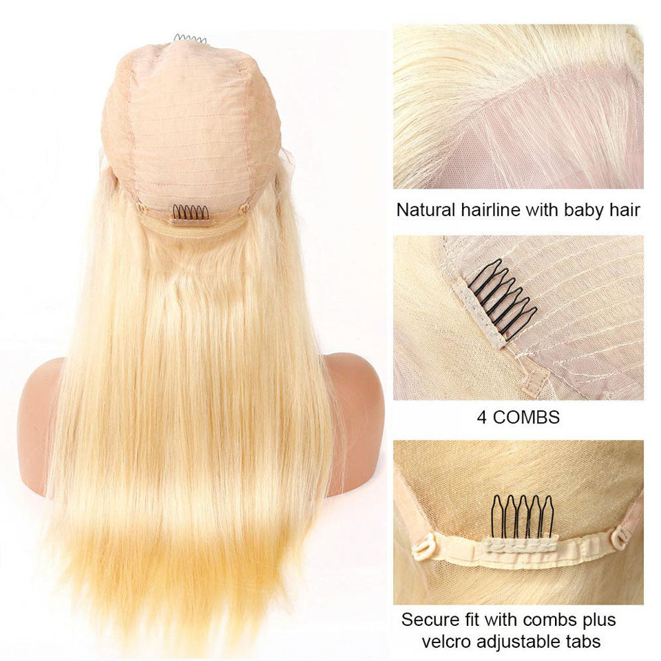 Pure 613 Blonde Straight Lace Front Wigs With Baby Hair, Natural Hairline, Free Part, 13*4 Lace Wig, 150% Density