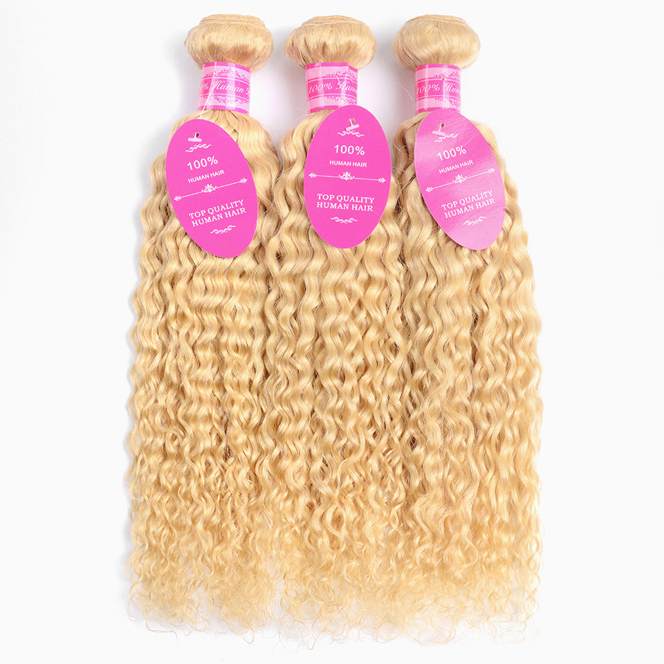 Beaufox Virgin 613 Blonde Water Wave Human Hair Blonde 3 Bundles With Frontal