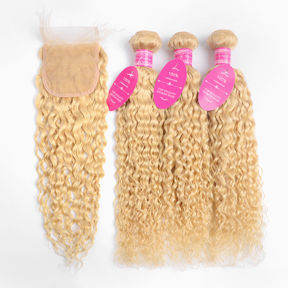 Beaufox Hair Virgin Human Hair 613 Water Wave Blonde 3 Bundles With 4*4 Closure