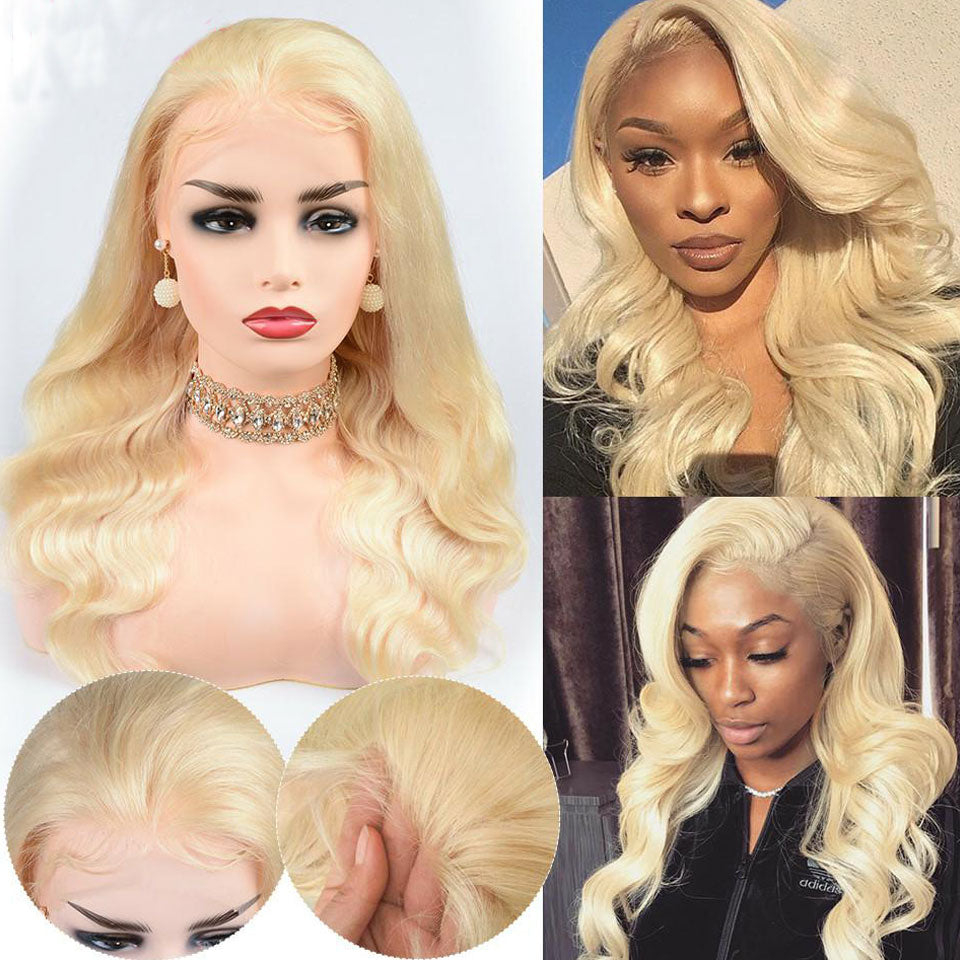 Beaufox 150% Density 613 Blonde Lace Front Human Hair Wig Body Wave With Baby Hair