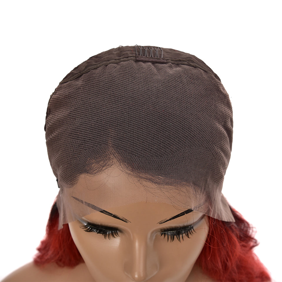 Beaufox Hair T1b/Red Body Wave 13*4 Lace Front Human Hair Wigs Ombre Hair Wigs