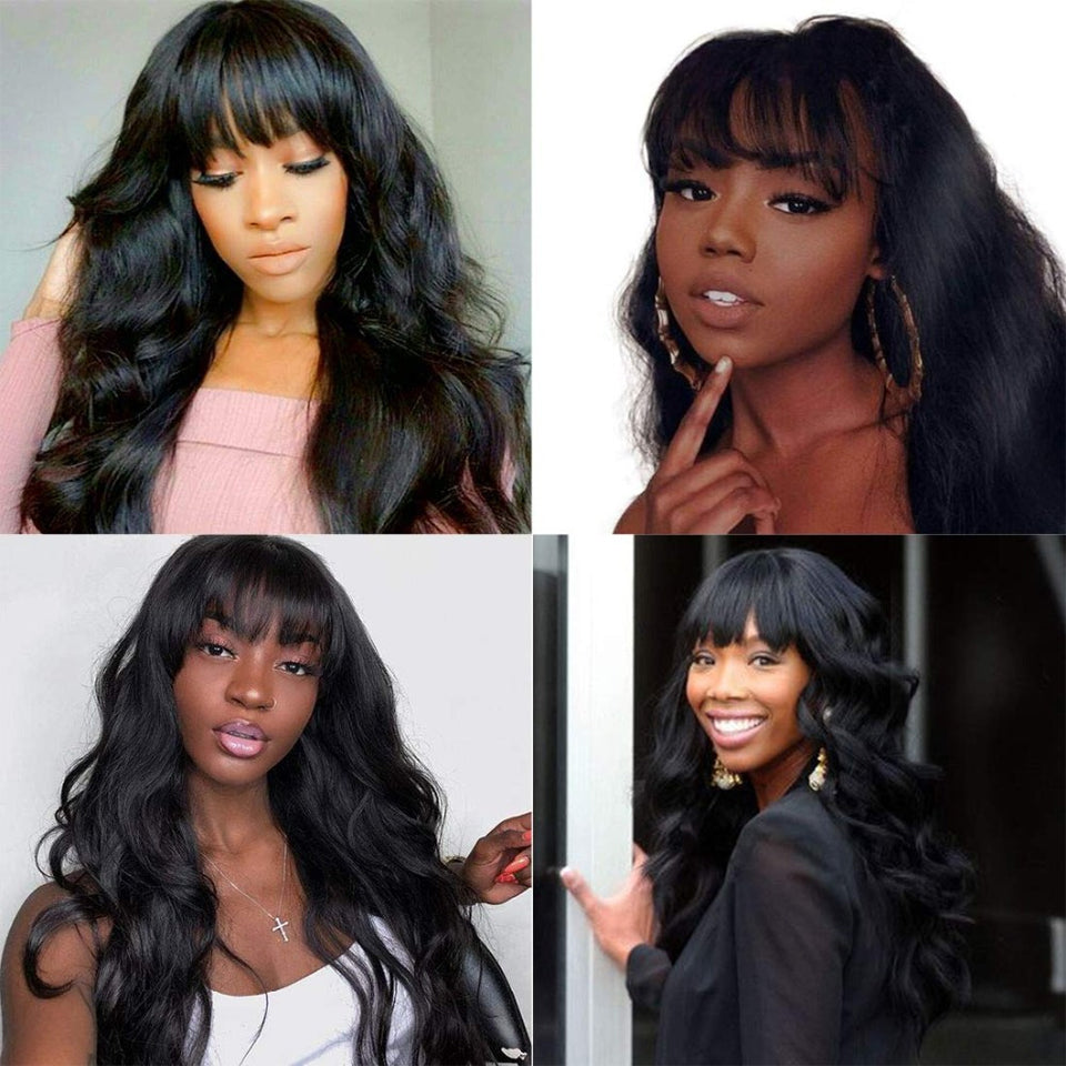 Beaufox Hair Body Wave Wig Virgin Human Hair 150% Density Machine Black Women Glueless Wig