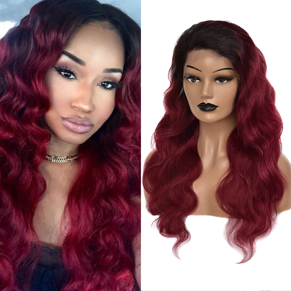 Beaufox Hair T1B/99J Body Wave 13*4 Lace Front Wig 150% Density Pre Plucked Ombre Hair Wig