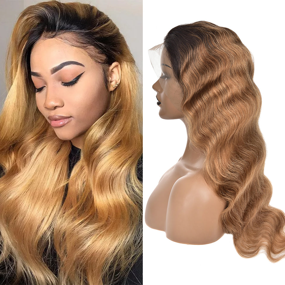 Beaufox Body Wave 13*4 Lace Front Human Hair Wigs T1B/27 Ombre Hair Wig
