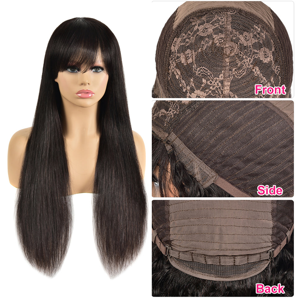 Beaufox Hair Human Hair Wig Straight Wigs With Baby Hair 150% Density Machine Glueless Wig