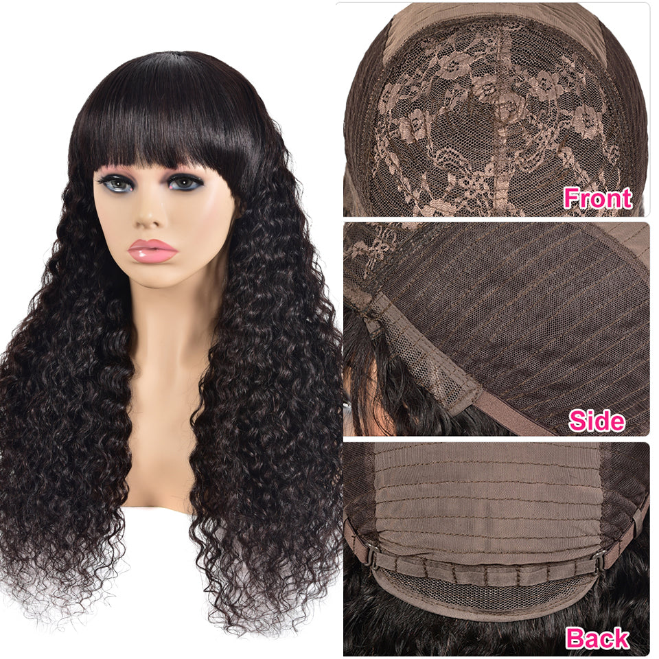 Beaufox Hair Human Hair Wig With Baby Hair Water Wave Curly Wigs 150% Density Machine Glueless