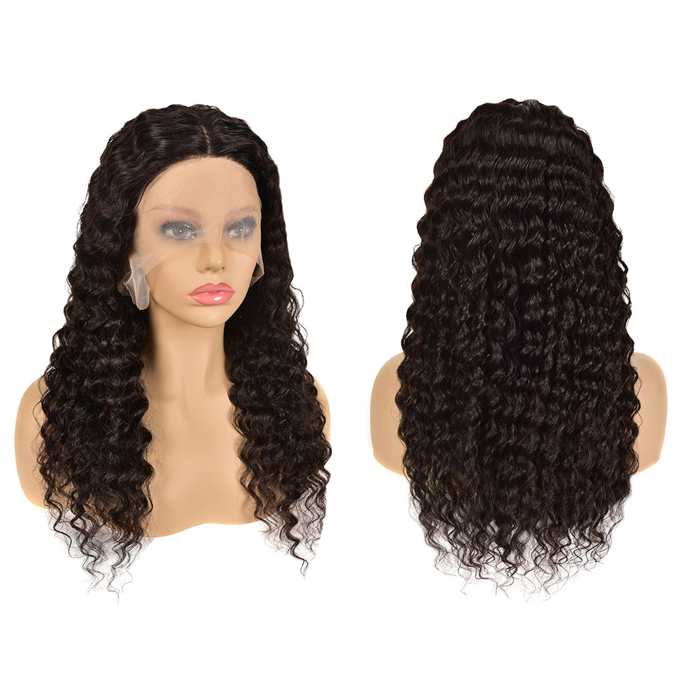 Beaufox Natural Black Deep Wave Human Hair Wigs T Part Lace Front Wig Brazilian Hair