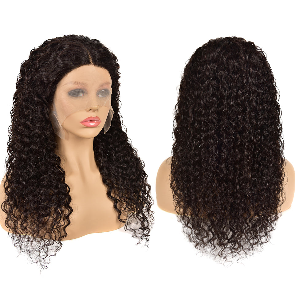 Beaufox T Part Lace Front Wig Natural Black Water Wave Virgin Human Hair Wigs For Women