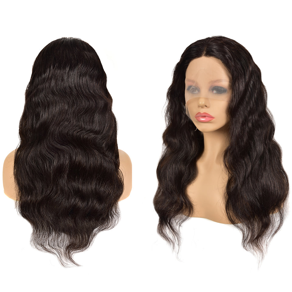 Beaufox Body Wave T Part Lace Front Wig Malaysian Virgin Human Hair Wigs For Women