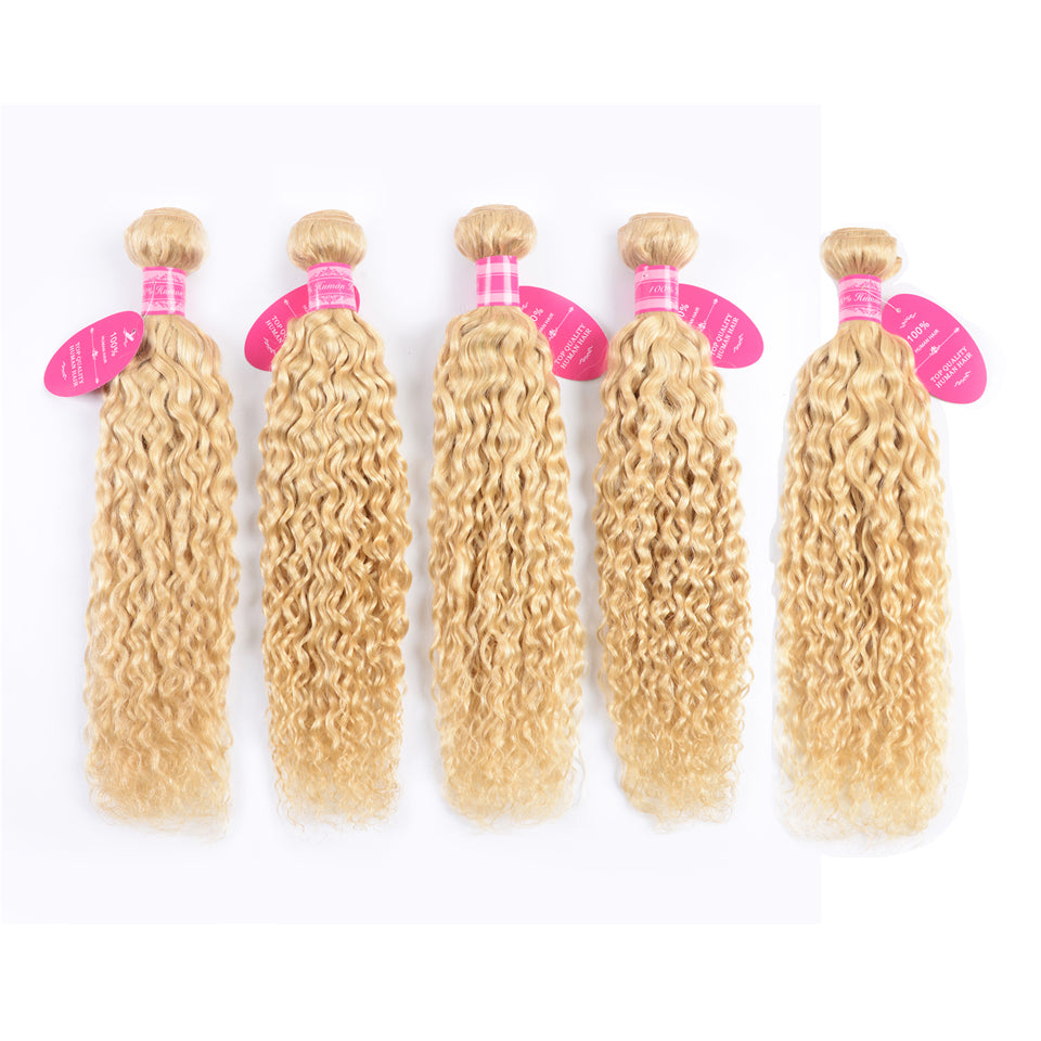 Beaufox Hair 613 Blonde Water Wave 100% Human Hair 5 Bundles Virgin Hair
