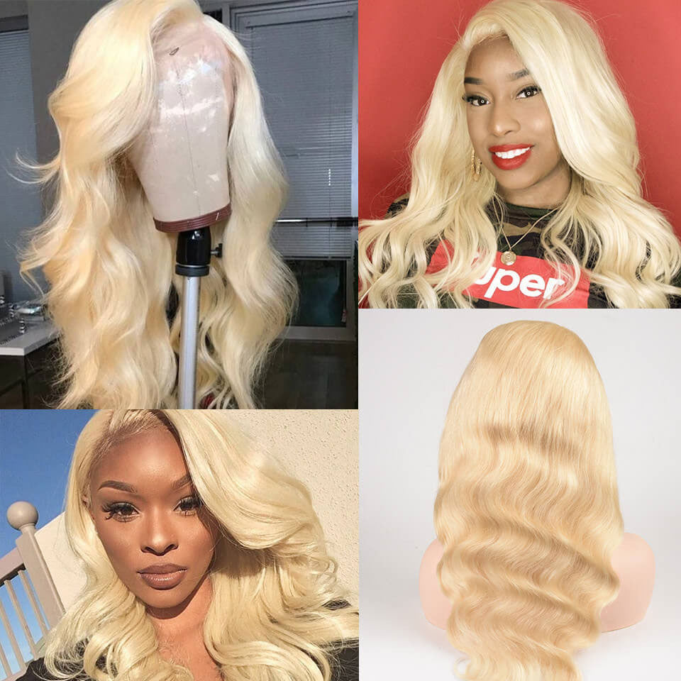 Pure 613 Blonde 360 Frontal Lace Body Wave Wigs With Baby Hair, Natural Hairline, Free Part,150% Density