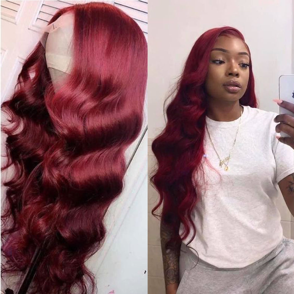 Beaufox 99J Red Body Wave Lace Front Wig Virgin Human Hair Baby Hair 150% Density Colorful Wig