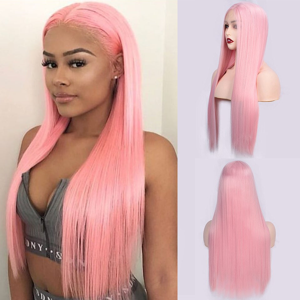 Beaufox Hair Pink Straight Lace Wig 150% Human Hair Colorful Wigs Virgin Hair Wig