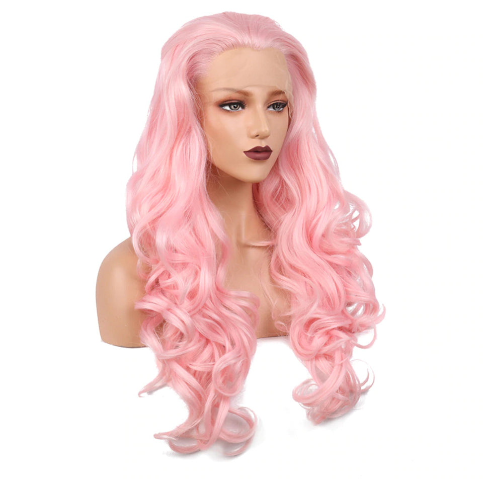 Beaufox Human Hair Pink Body Wave Lace Front Wig 13X4 Wig 150% Density