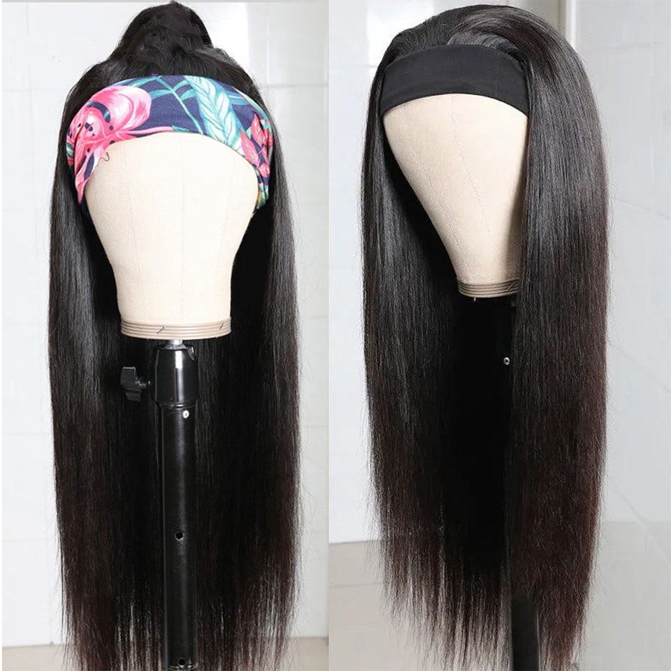 Beaufox Hair Straight Headband Scarf Wig 150% Density Glueless Virgin Human Hair For Women Affordable