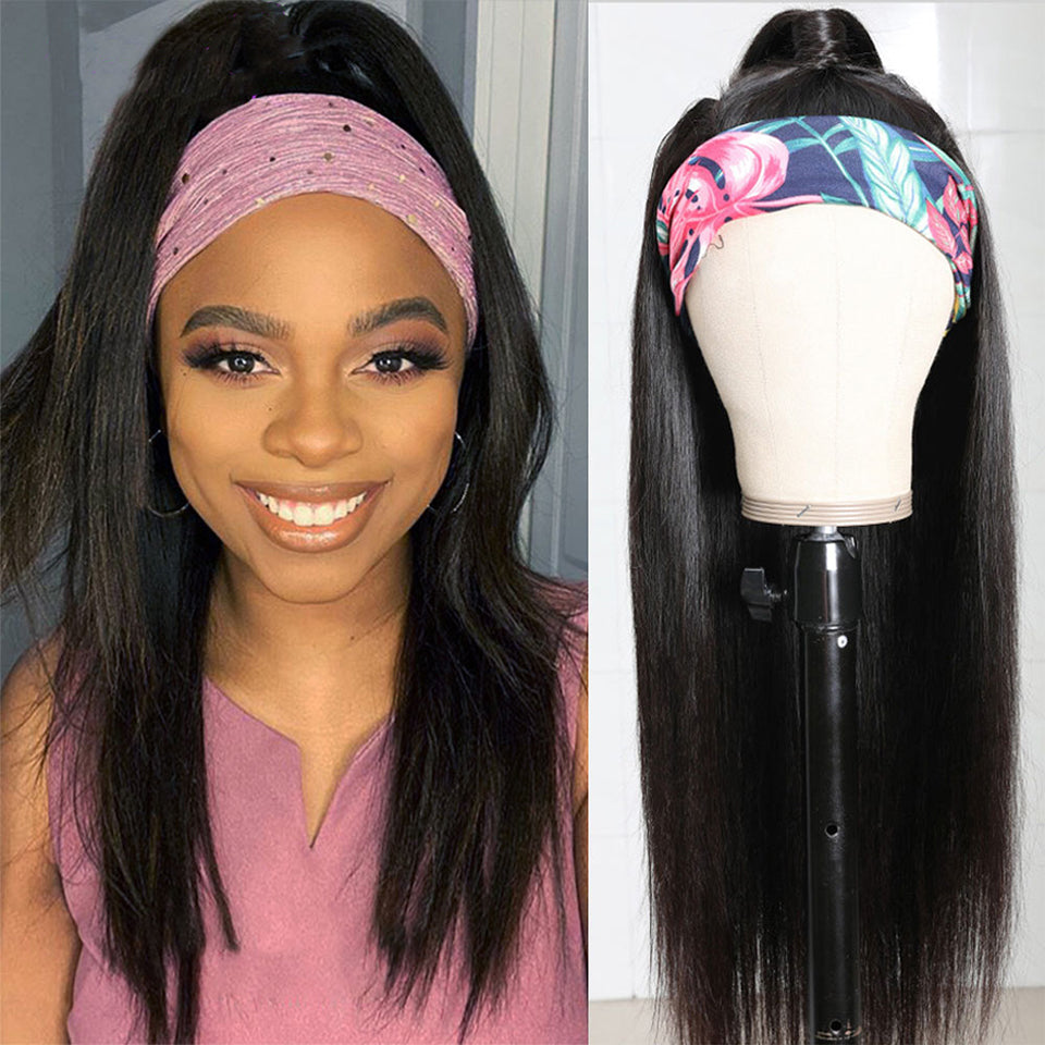 Beaufox Human Hair Headband Wigs 8-26 Inch 180% Density Glueless Straight Virgin Human Hair Wigs