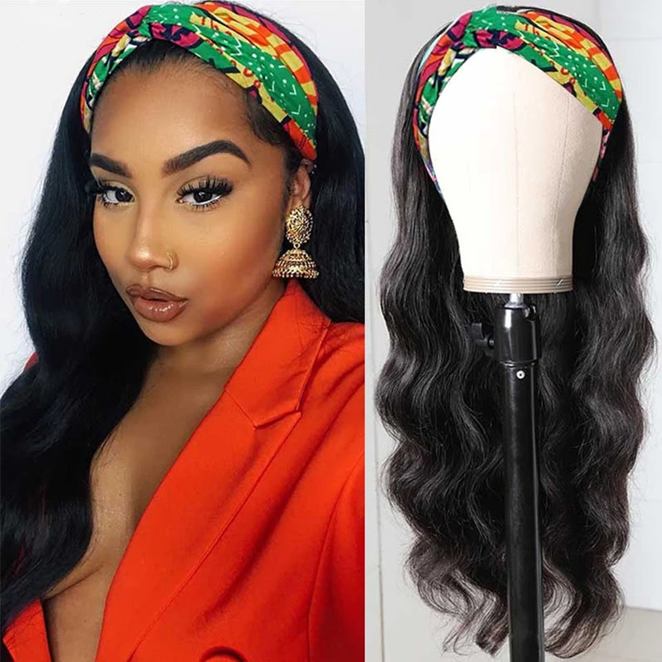 Beaufox Hair Body Wave Headband Wig 150% Density Glueless Virgin Human Hair For Women