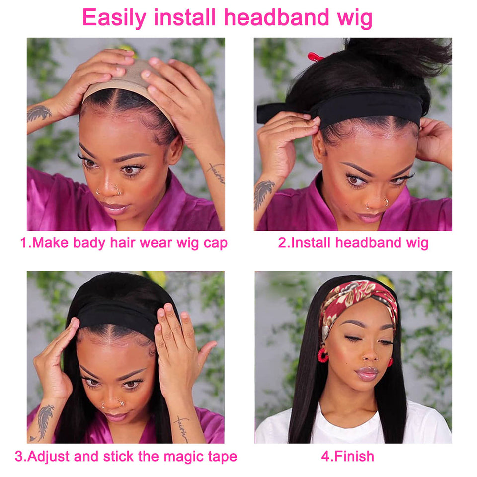 Beaufox Human Hair Headband Wigs 180% Density Glueless Straight Virgin Human Hair Wigs
