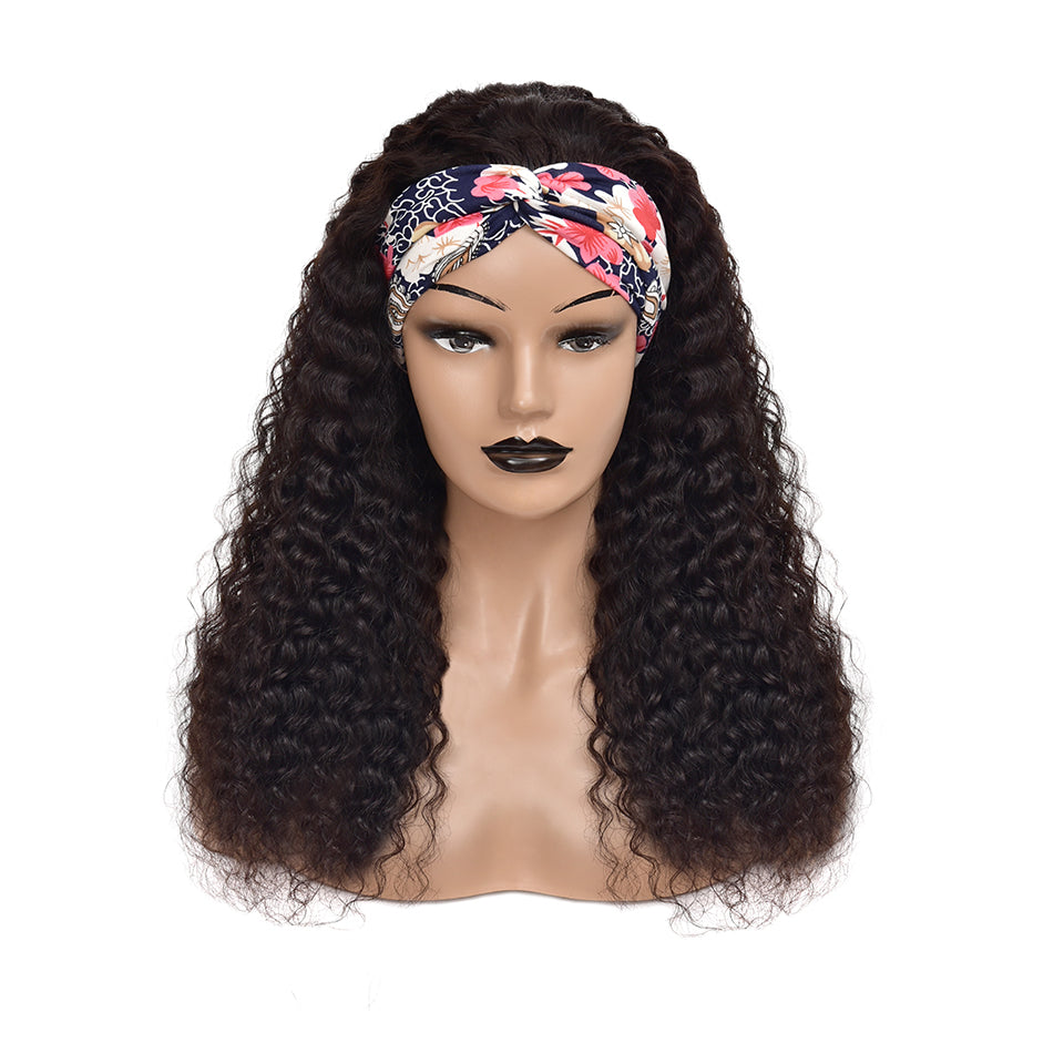 Beaufox Water Curly Headband Wig Human Hair Wigs 150% Density Scarf Wig Natural Black
