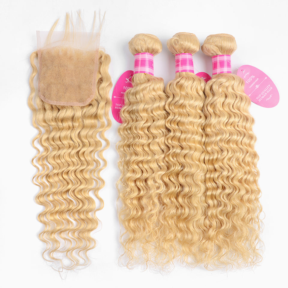 Beaufox Hair Virgin Human Hair Deep Wave 613 Blonde 3 Bundles With 4*4 Closure