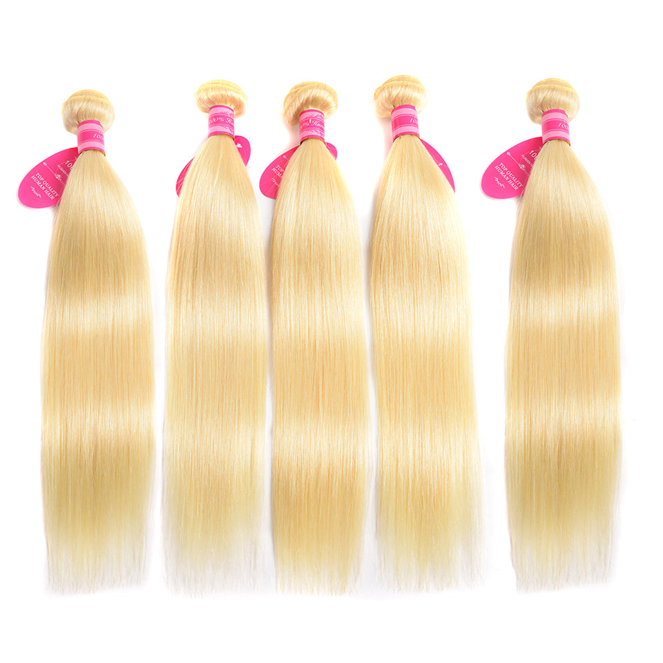 Beaufox Hair Straight Hair 100% Human Hair 5 Bundles Virgin Hair 613Blonde