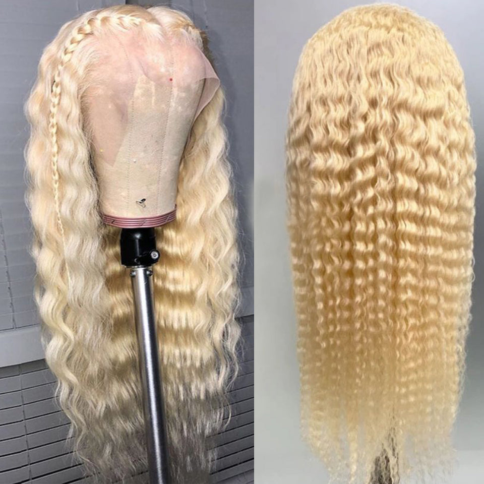 Beaufox 150% Density 613 Blonde Water Wave Lace Front Wig 13X4 Curly