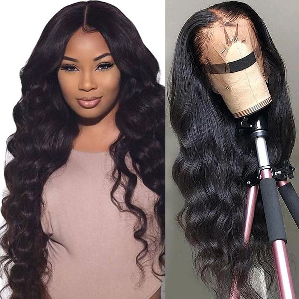 Beaufox 360 Lace Frontal Wig 180% Density Body Wave Human Hair Wigs 8-26 inch