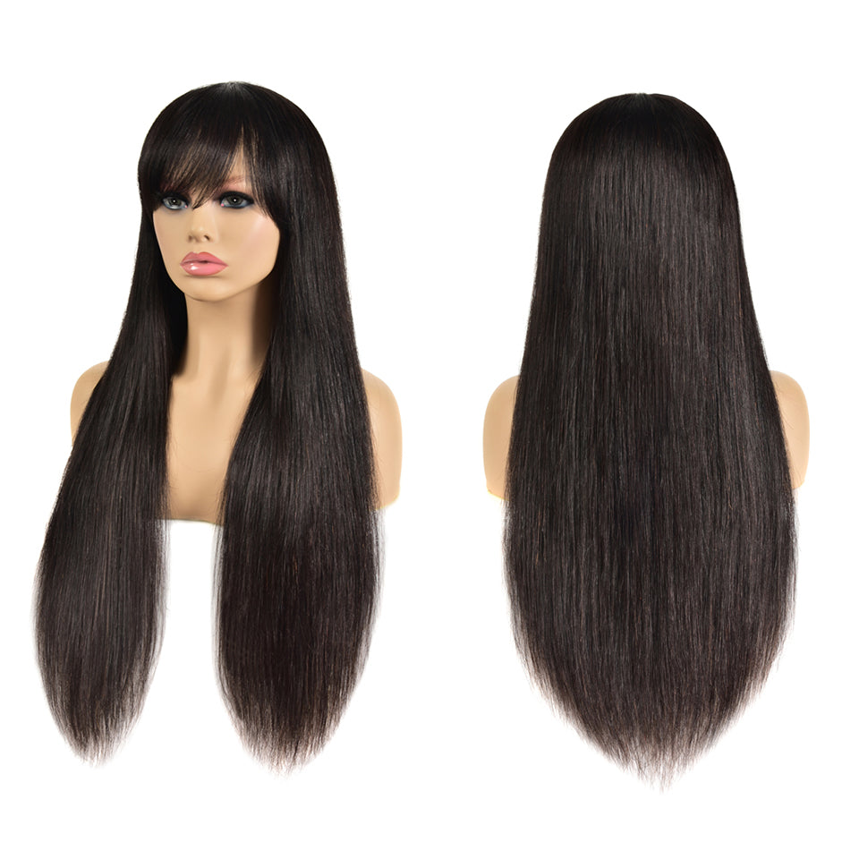 Beaufox Hair 12A Grade Straight Hair Wig Virgin Human Hair 150% Density Machine Glueless Wig