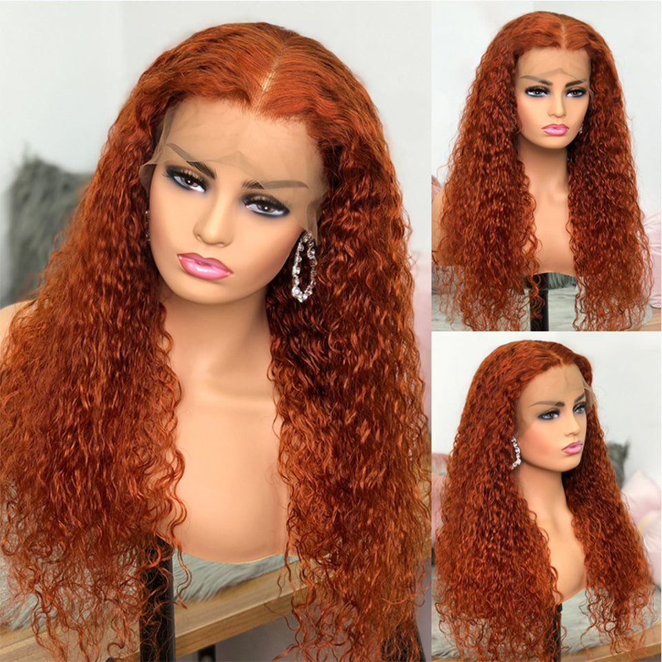 Beaufox Hair Orange Color Water Curly  Lace Front Wig 150% Density Virgin Human Hair