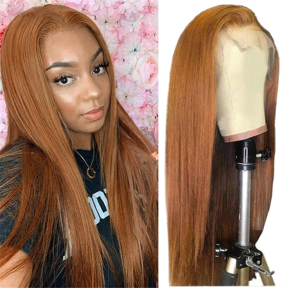 Beaufox Straight Hair 13X4 Lace Front Wig Virgin Human Hair 150% Density Ginger Color
